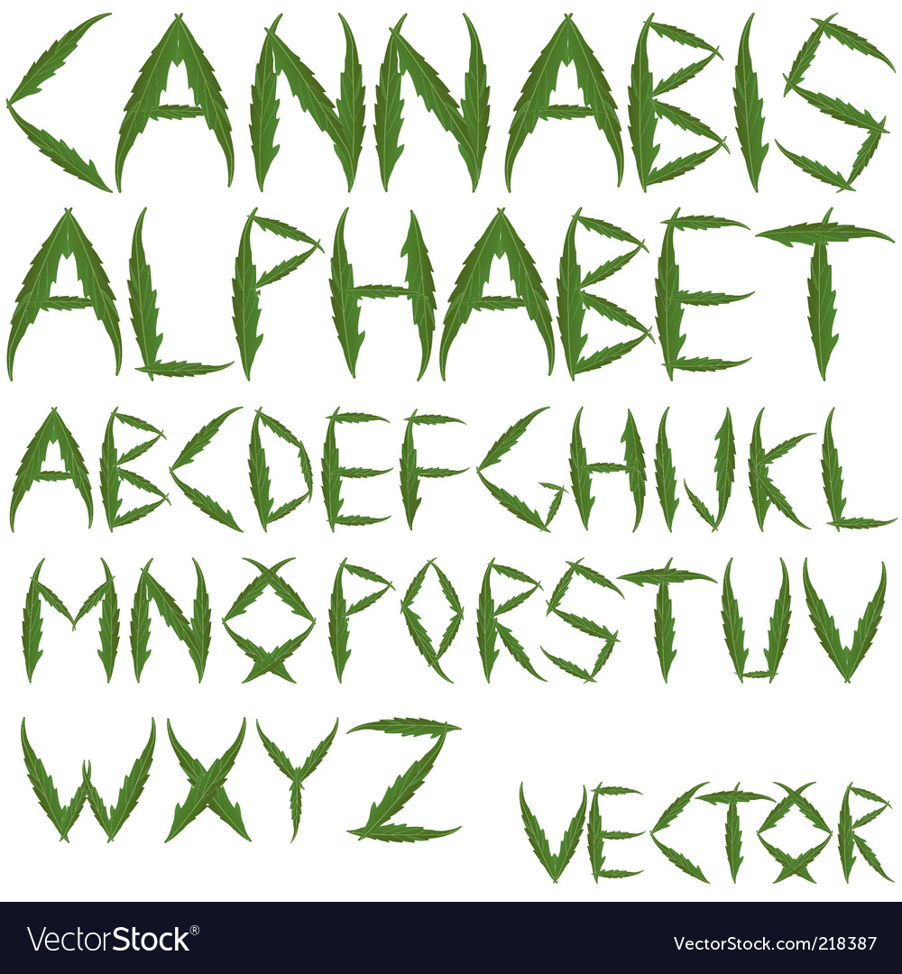 Cannabis leafs alphabet vector | Price: 3 Credit (USD $3)