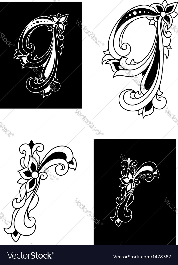 Decorative letters q and r in floral style vector | Price: 1 Credit (USD $1)