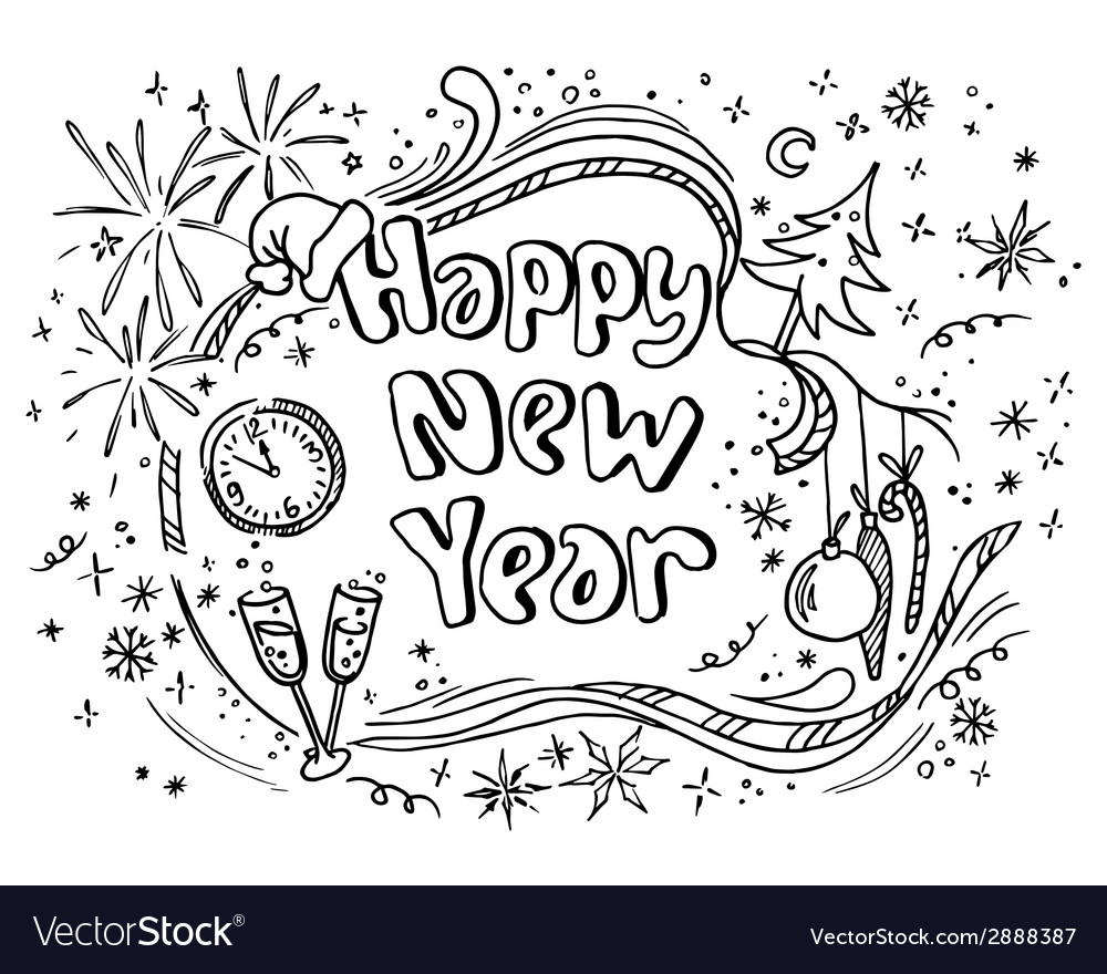 Doodle new year vector | Price: 1 Credit (USD $1)