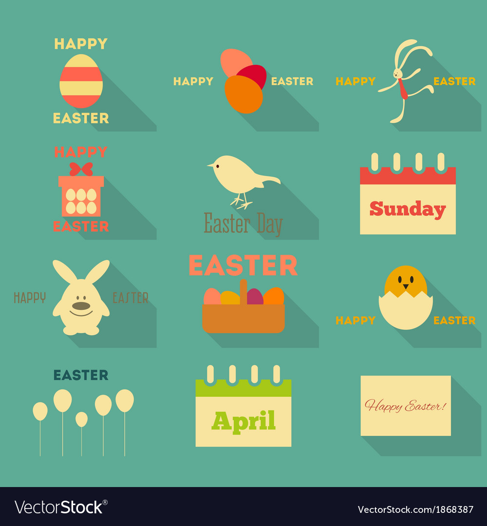 Easter icons collection vector | Price: 1 Credit (USD $1)