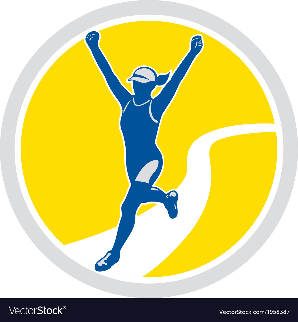 Female triathlete marathon runner retro vector | Price: 1 Credit (USD $1)