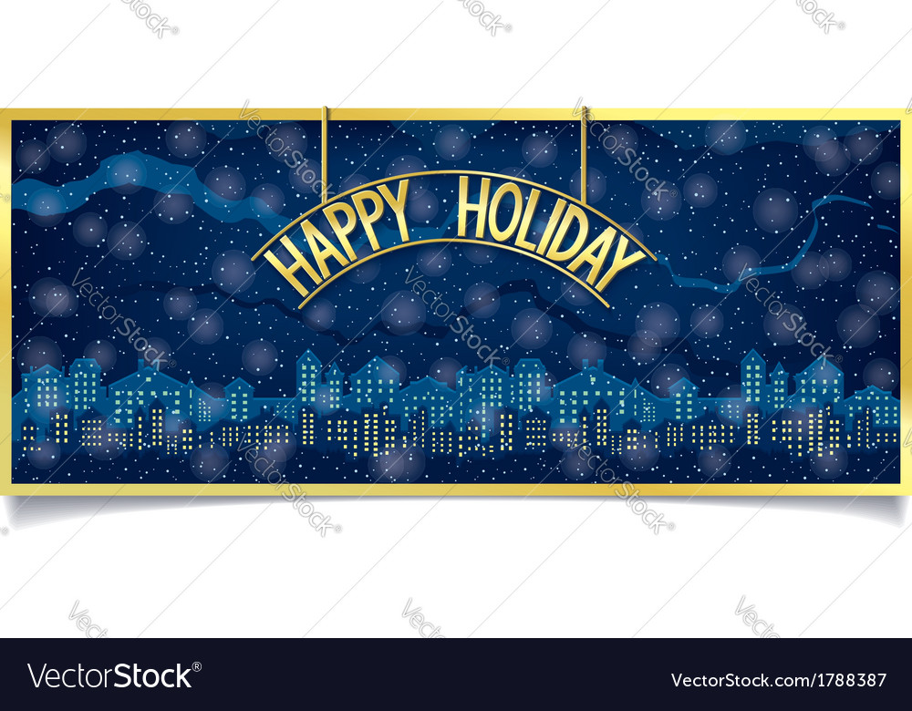 Happy holiday design with gold signboard vector | Price: 1 Credit (USD $1)