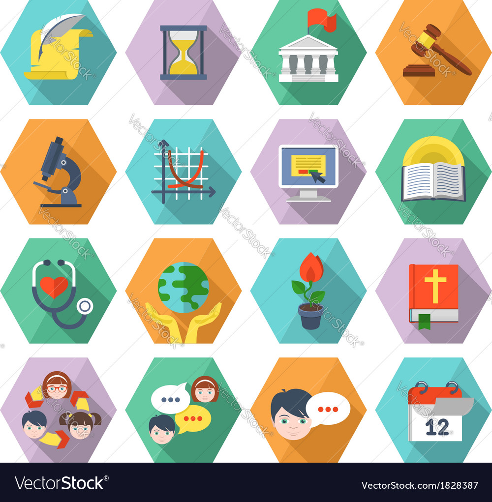 Modern flat education icons in hexagons vector | Price: 1 Credit (USD $1)