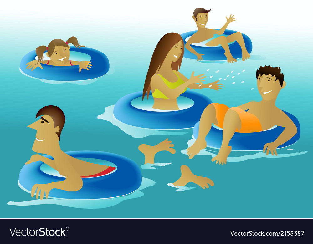 People enjoying a swimming pool vector | Price: 1 Credit (USD $1)
