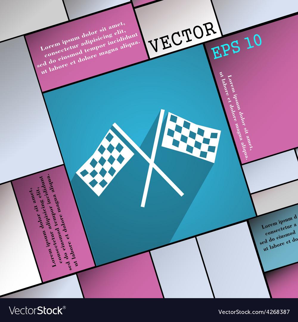 Race flag finish icon symbol flat modern web vector | Price: 1 Credit (USD $1)