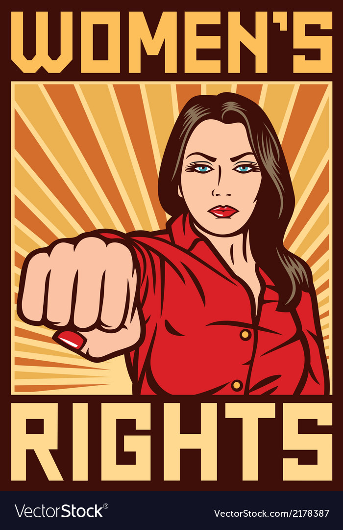 Women rights poster - pop art woman punching vector | Price: 1 Credit (USD $1)