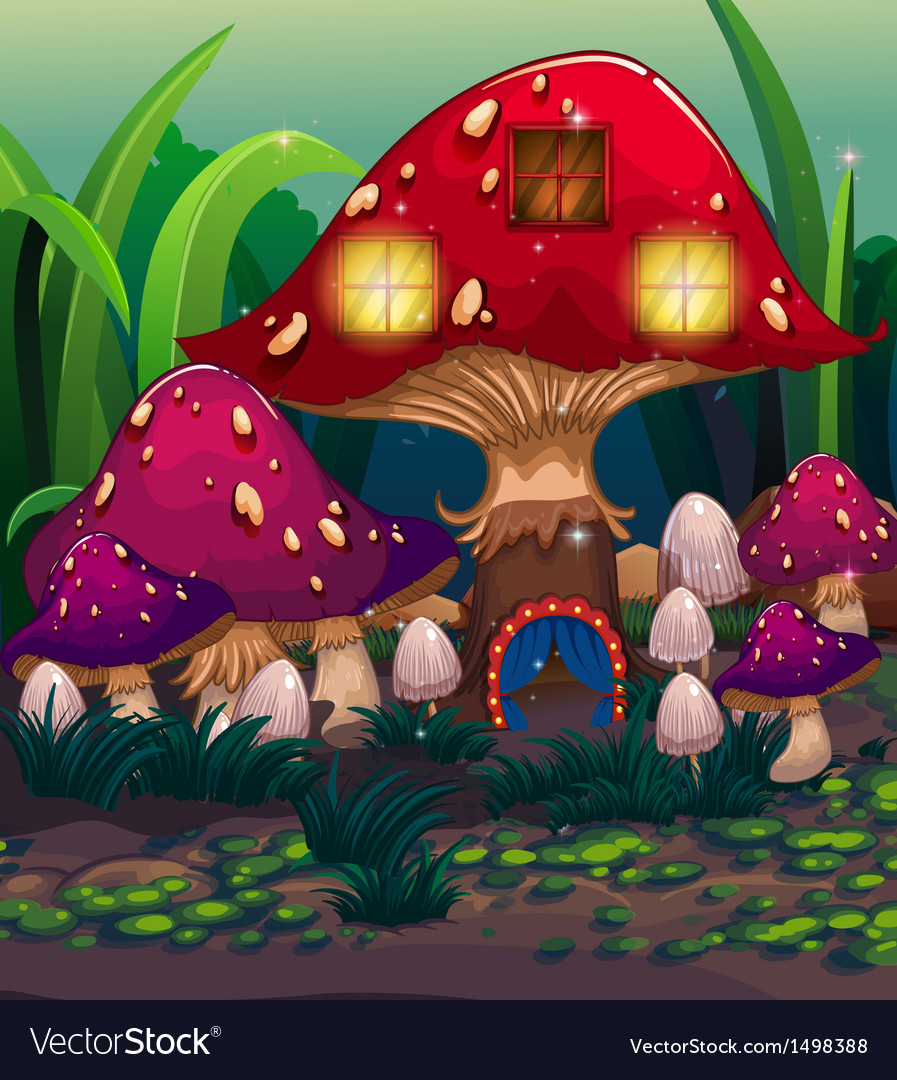 A big mushroom house with a blue curtain vector | Price: 1 Credit (USD $1)