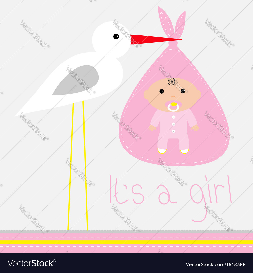 Baby shower card with stork its a girl vector | Price: 1 Credit (USD $1)