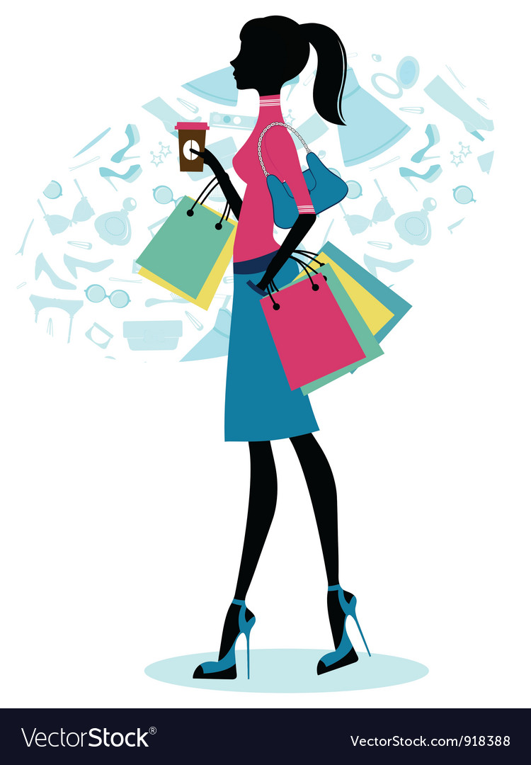 Beautiful woman shopping with coffee vector | Price: 1 Credit (USD $1)