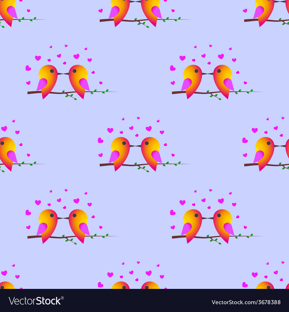 Bird sparrow st valentines day seamless pattern vector | Price: 1 Credit (USD $1)