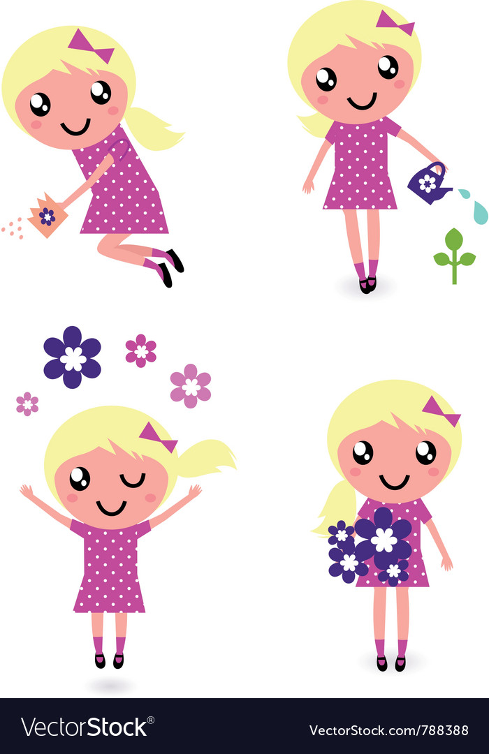 Child with spring flowers vector | Price: 1 Credit (USD $1)