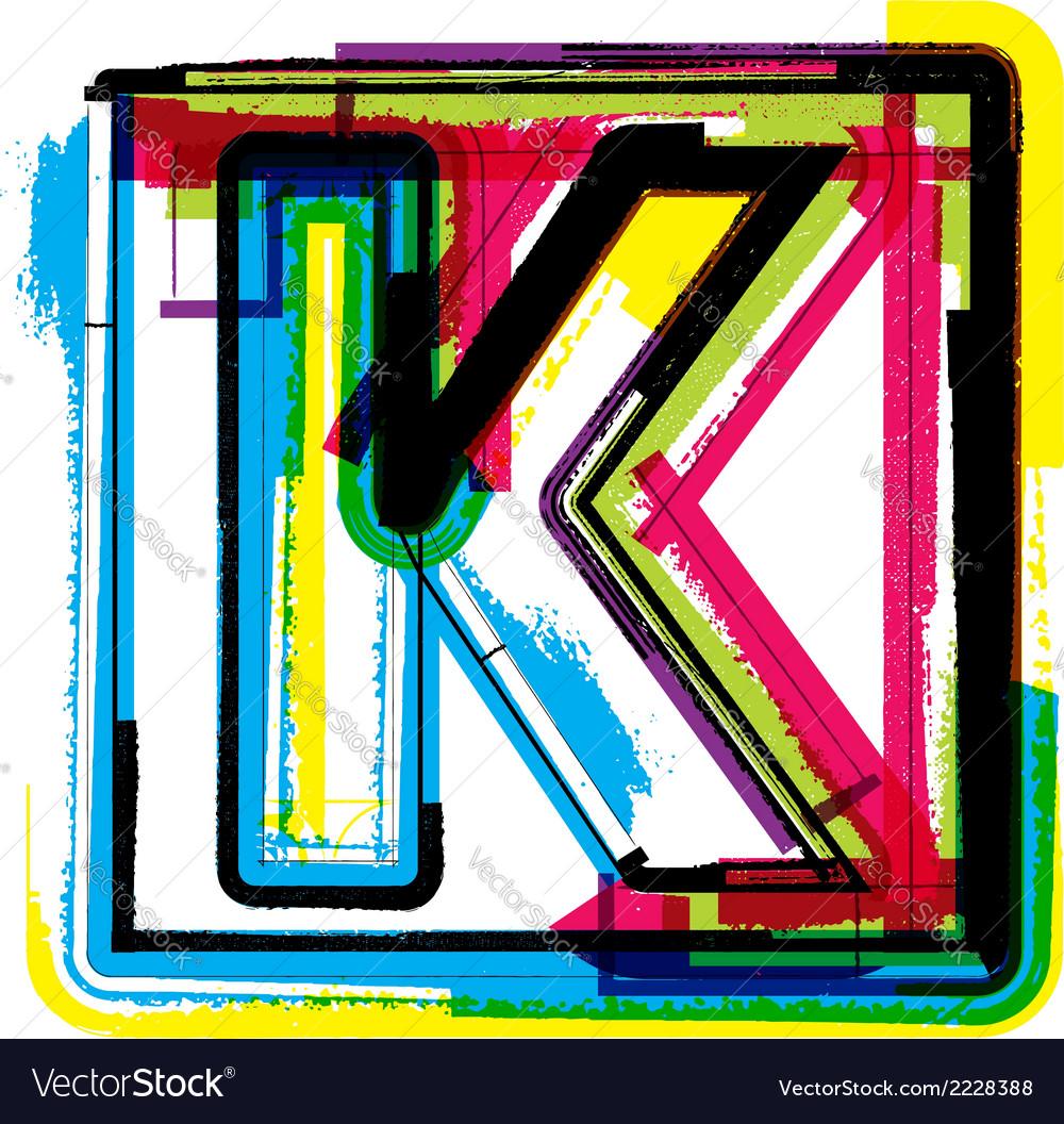 Colorful grunge font letter k vector   Price: 1 Credit (USD $1)