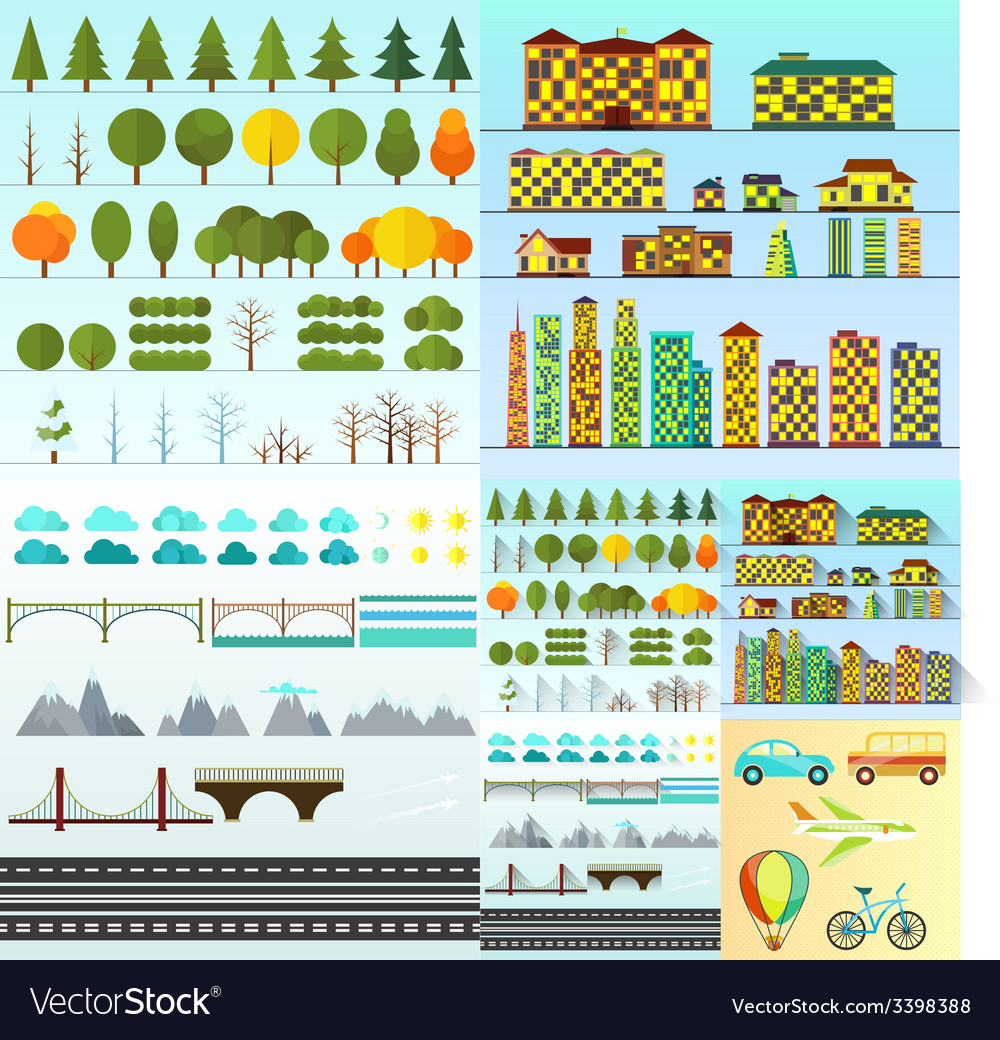 Different urban objects collection isolated vector