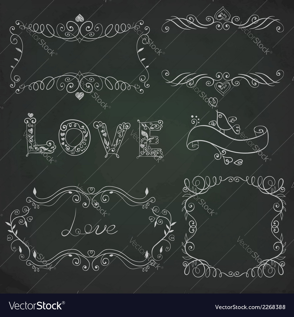Hand drawn vignettes on the board vector | Price: 1 Credit (USD $1)