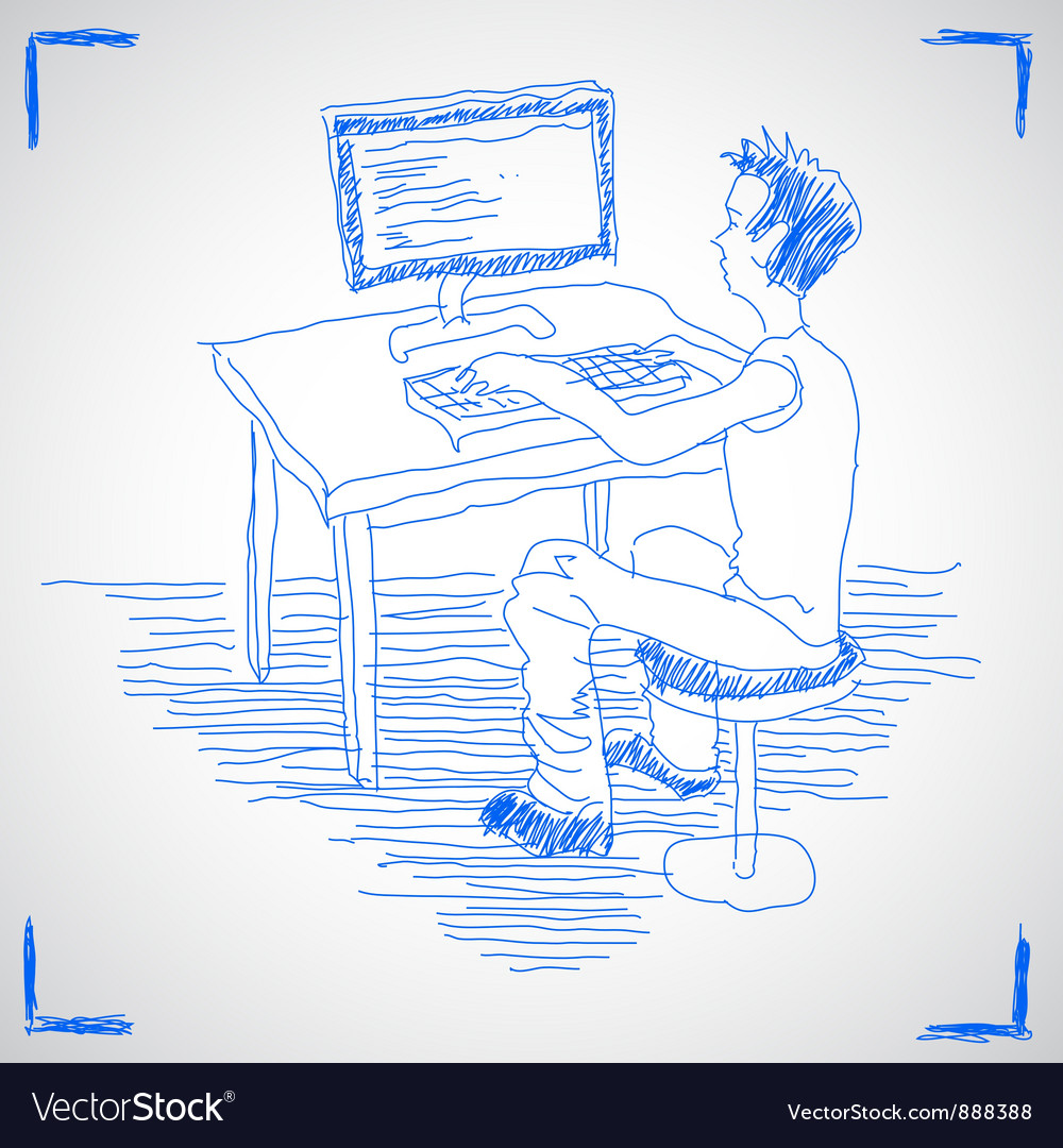 Man working with computer vector | Price: 1 Credit (USD $1)