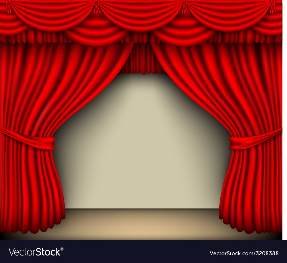 Red silk curtain with shadows and screen vector | Price: 1 Credit (USD $1)