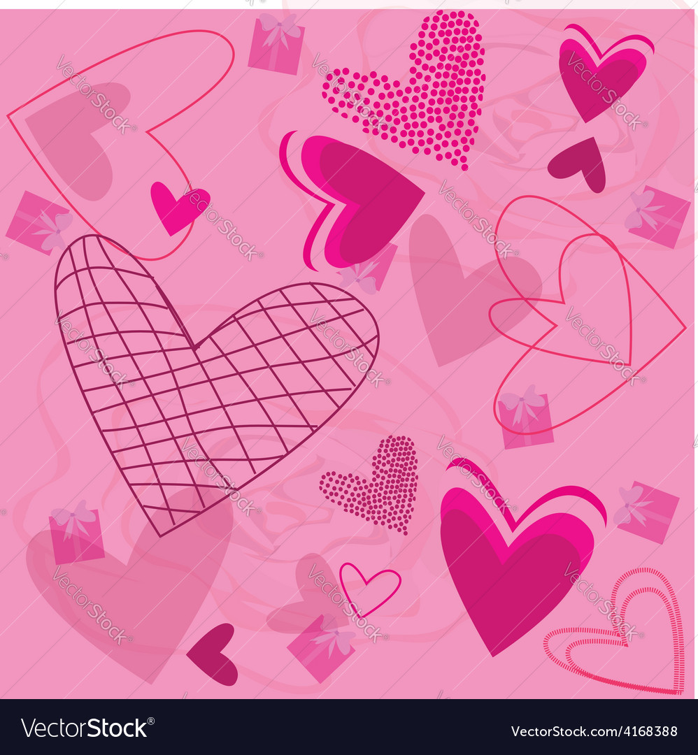 Roses and pink hearts vector | Price: 1 Credit (USD $1)