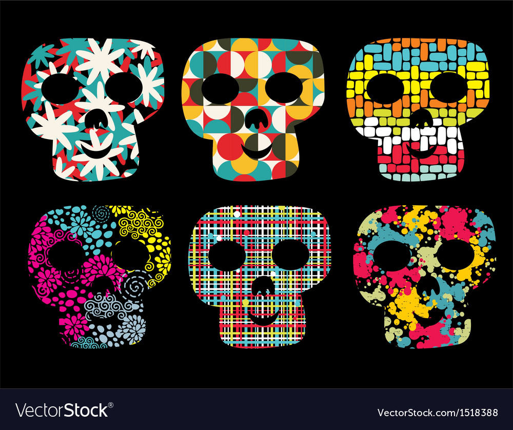 Set of cute skulls vector | Price: 1 Credit (USD $1)