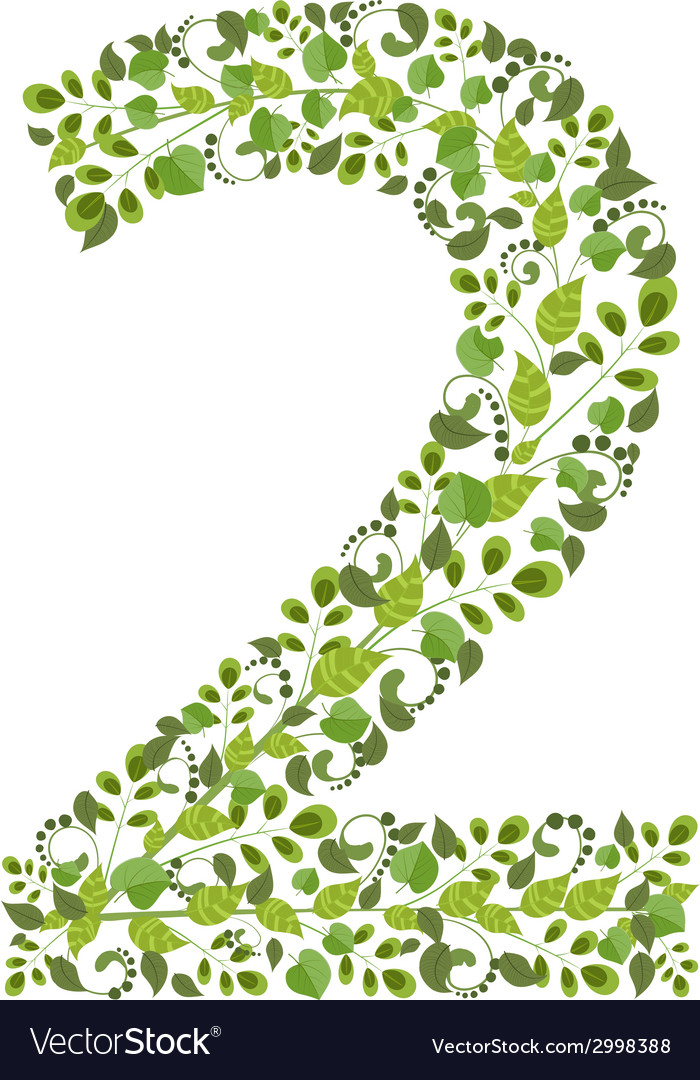 Spring green leaves eco number 2 vector | Price: 1 Credit (USD $1)