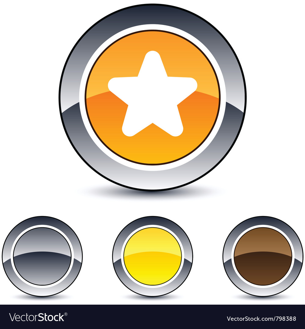 Star round button vector | Price: 1 Credit (USD $1)