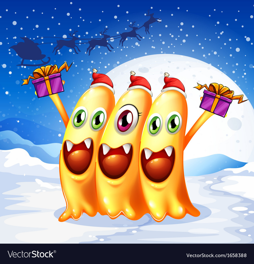 Three monsters celebrating christmas vector | Price: 3 Credit (USD $3)
