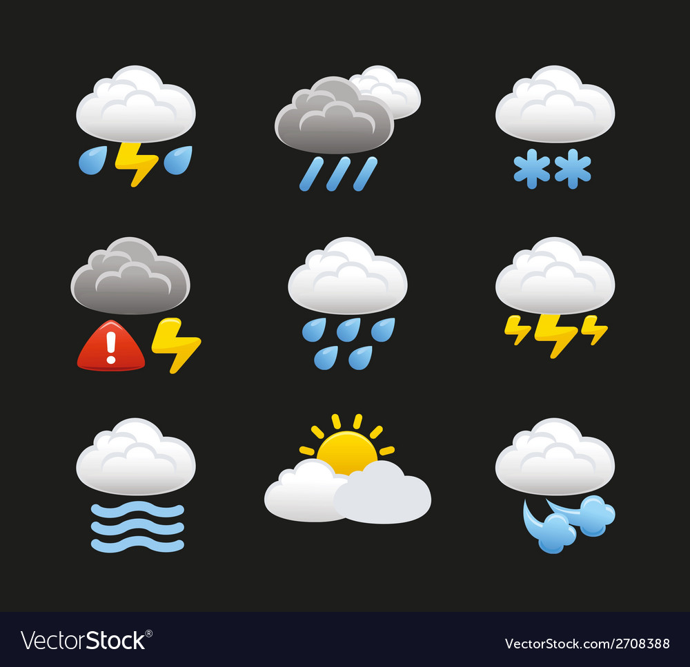 Weather with clouds icons vector | Price: 1 Credit (USD $1)