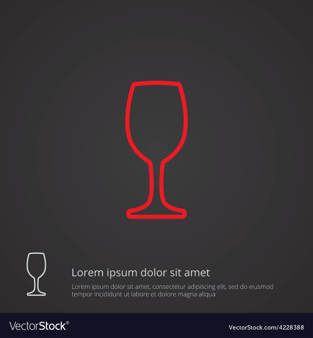 Wineglass outline symbol red on dark background vector | Price: 1 Credit (USD $1)