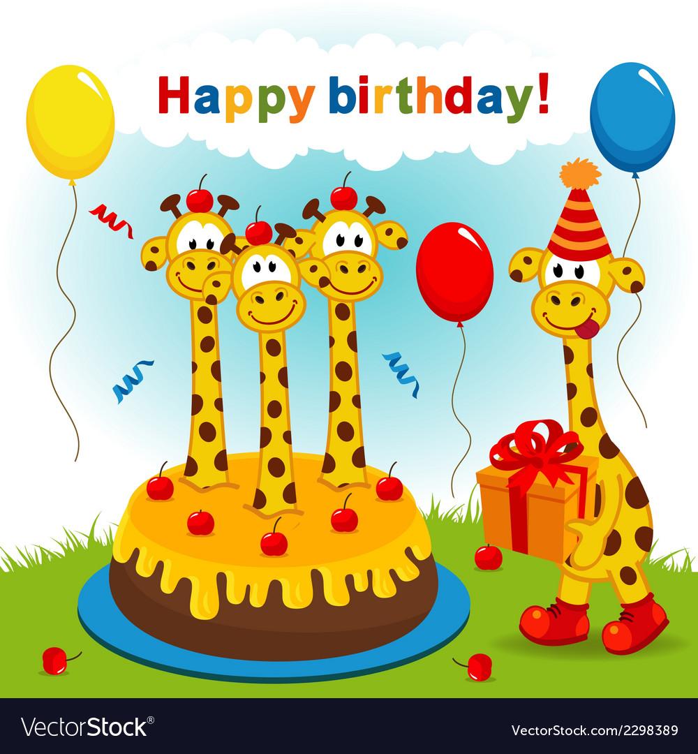Birthday giraffe vector | Price: 1 Credit (USD $1)