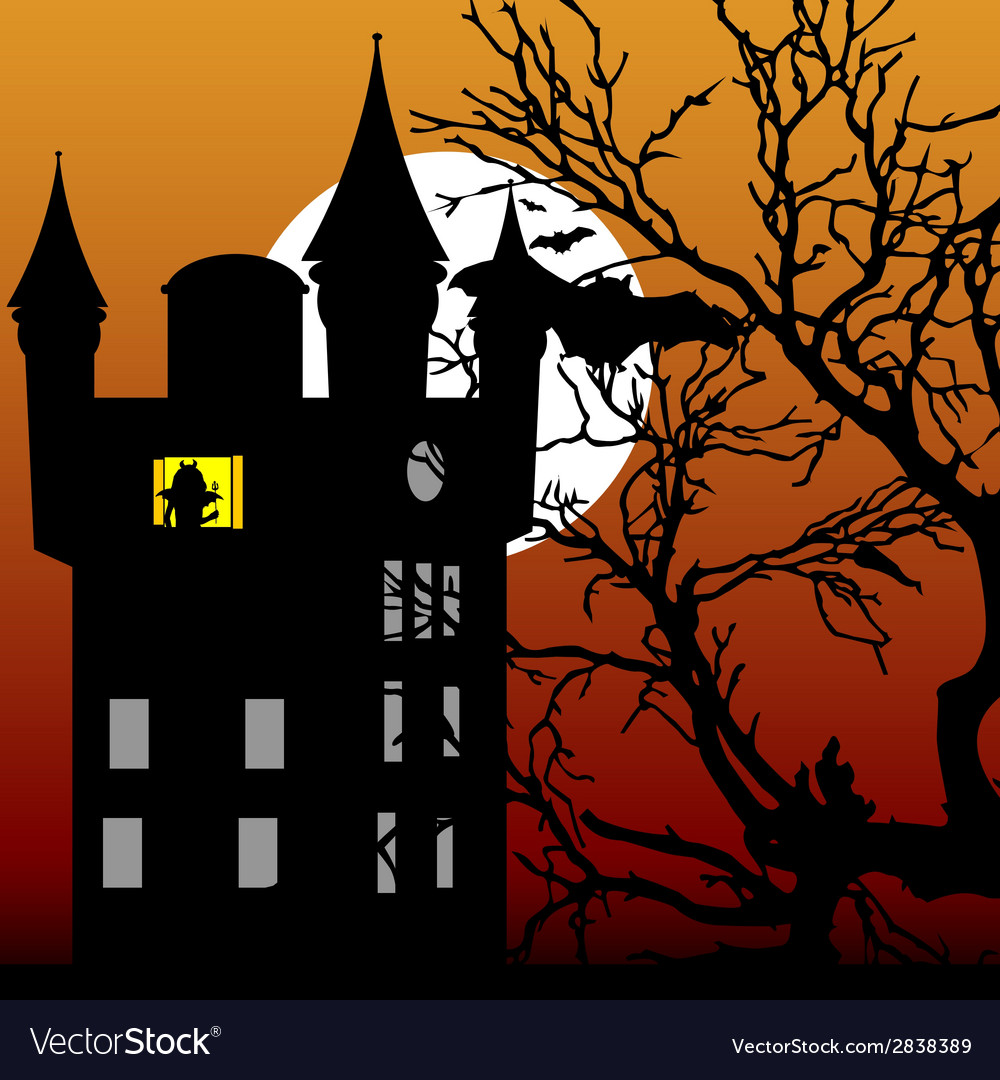 Castle in the twilight with bat vector | Price: 1 Credit (USD $1)
