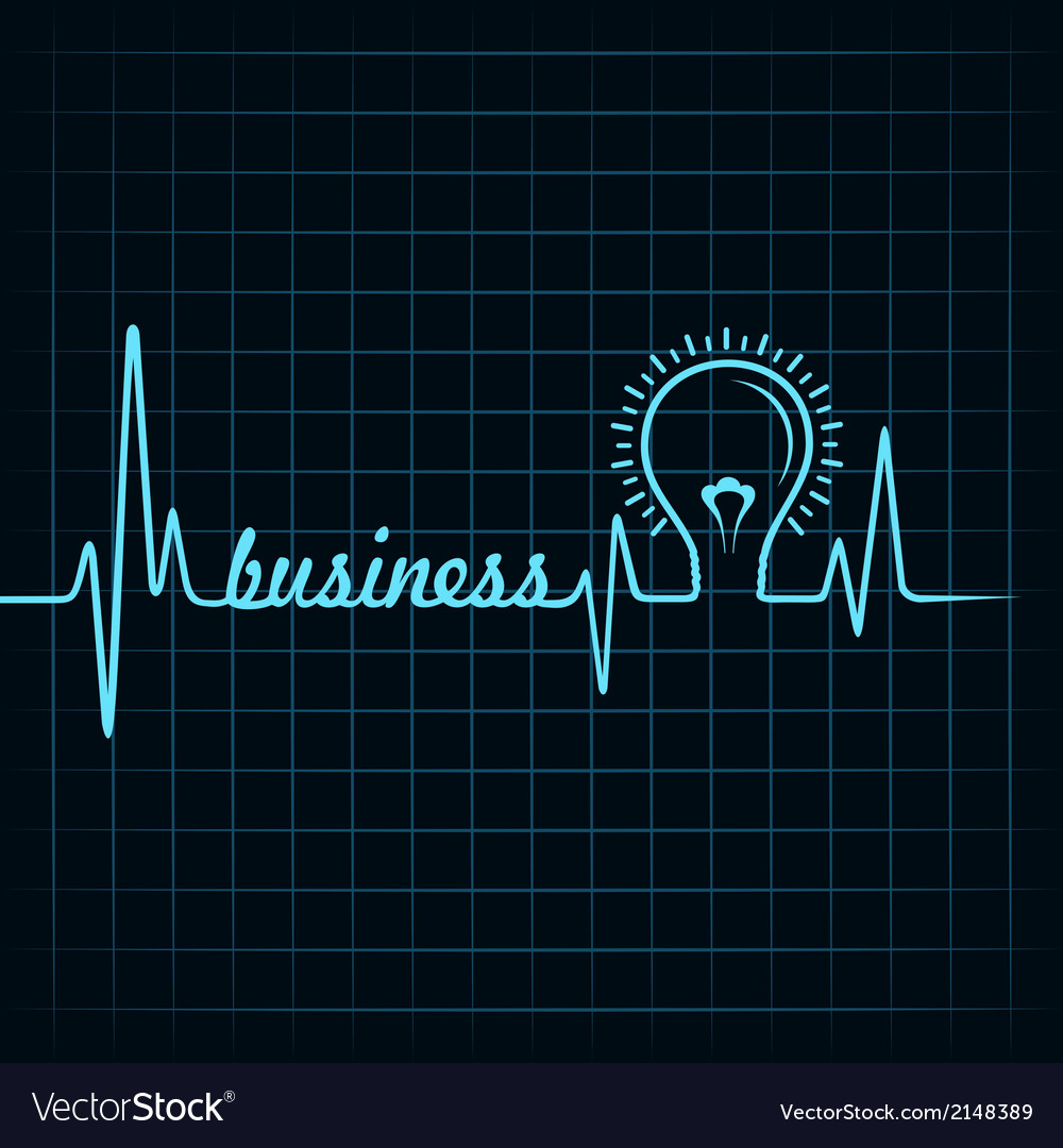 Heartbeat make business word and light-bulb vector | Price: 1 Credit (USD $1)