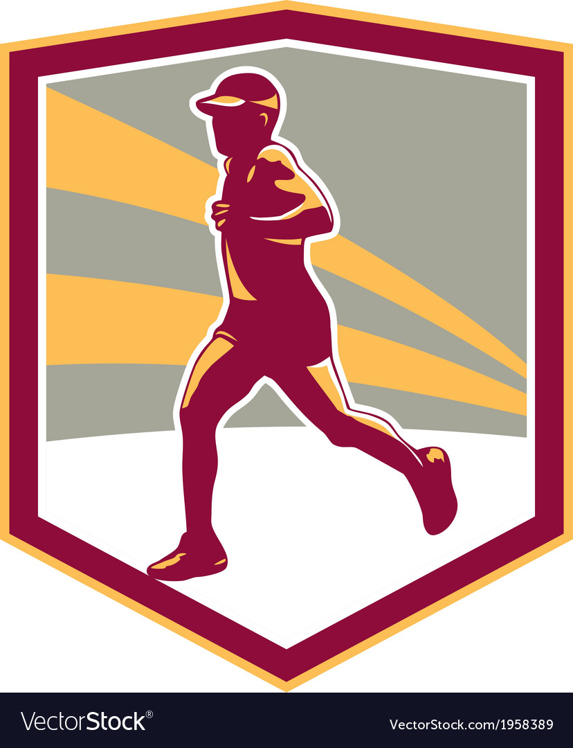 Marathon runner shield retro vector | Price: 1 Credit (USD $1)
