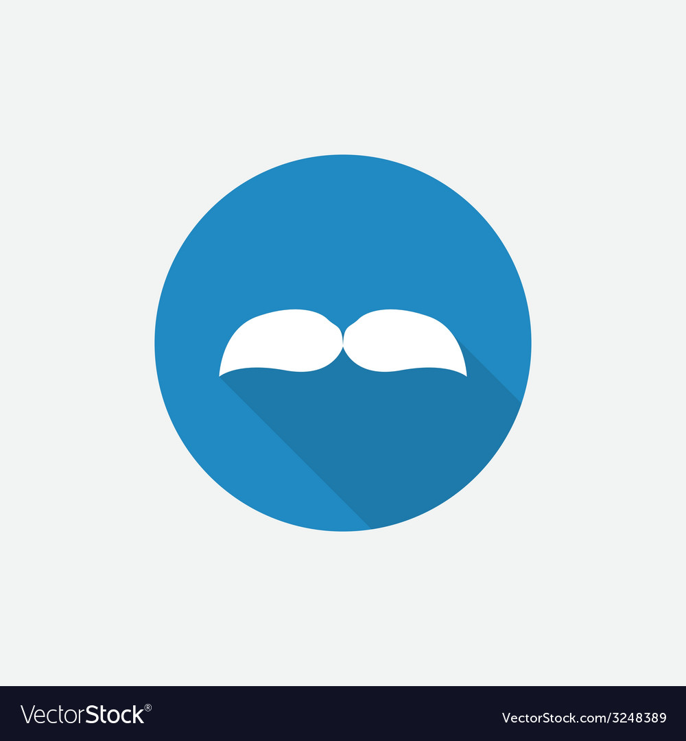 Mustache flat blue simple icon with long shadow vector | Price: 1 Credit (USD $1)