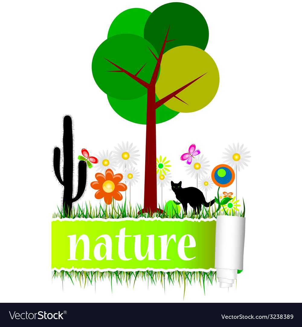 Nature with flower art vector | Price: 1 Credit (USD $1)