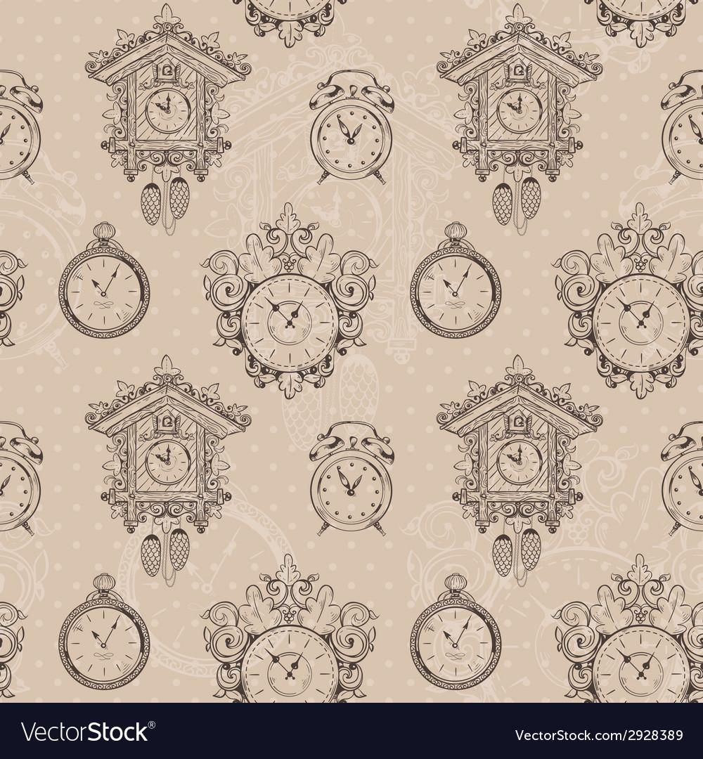 Old vintage clock seamless pattern vector | Price: 1 Credit (USD $1)
