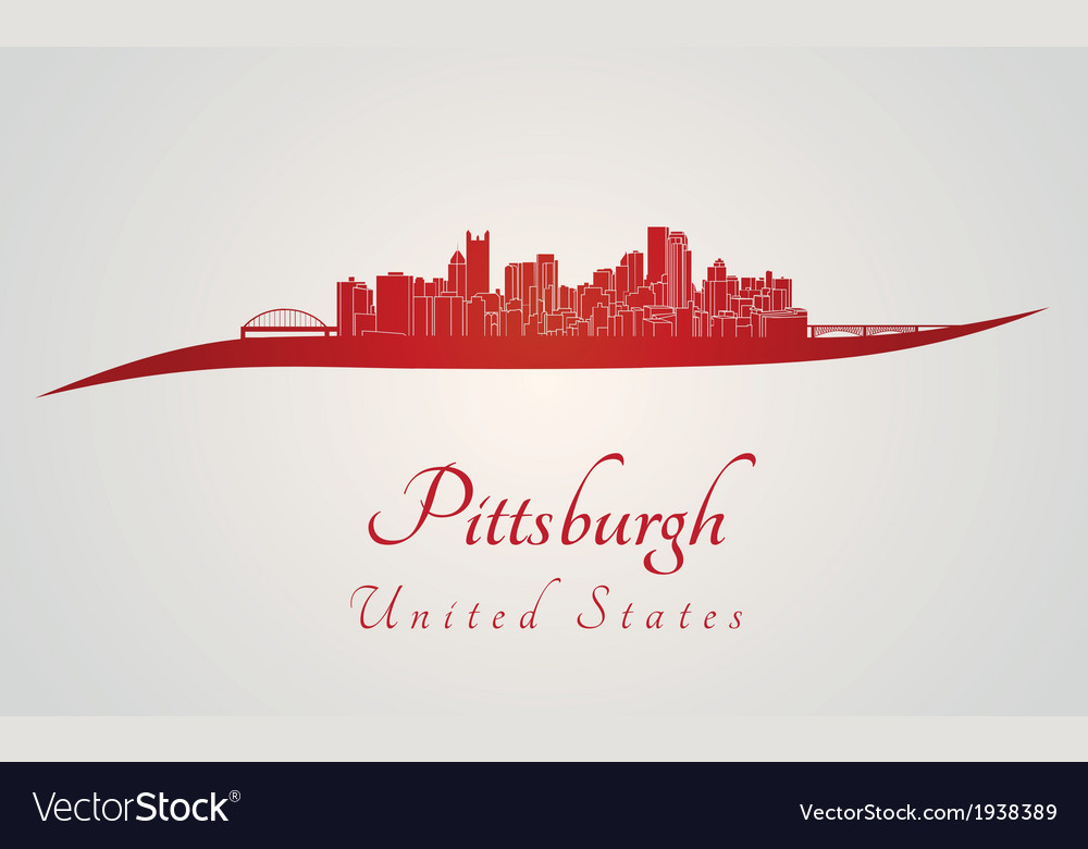 Pittsburgh skyline in red vector | Price: 1 Credit (USD $1)
