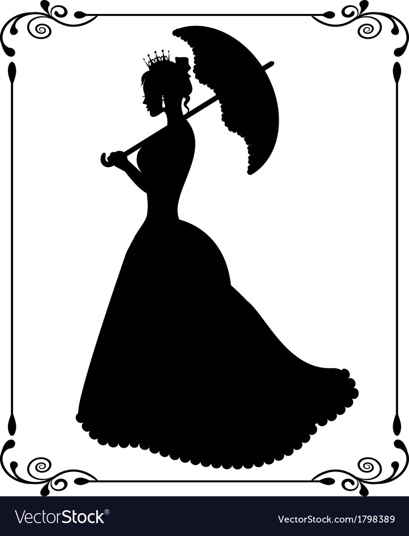 Princess silhouette in retro patterned frame vector | Price: 1 Credit (USD $1)
