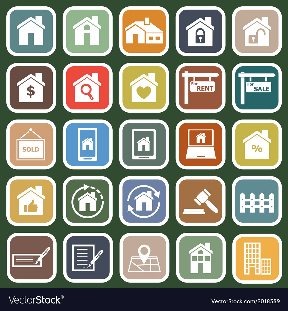 Real estate flat icons on green background vector | Price: 1 Credit (USD $1)