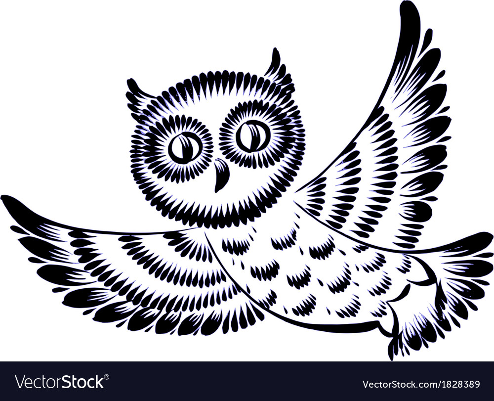 Silhouette of a flying owl vector | Price: 1 Credit (USD $1)