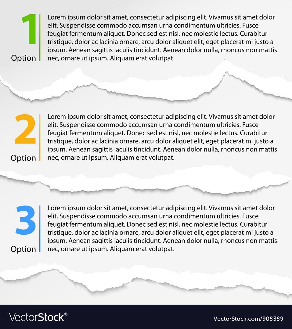 Torn paper progress option labels vector | Price: 1 Credit (USD $1)