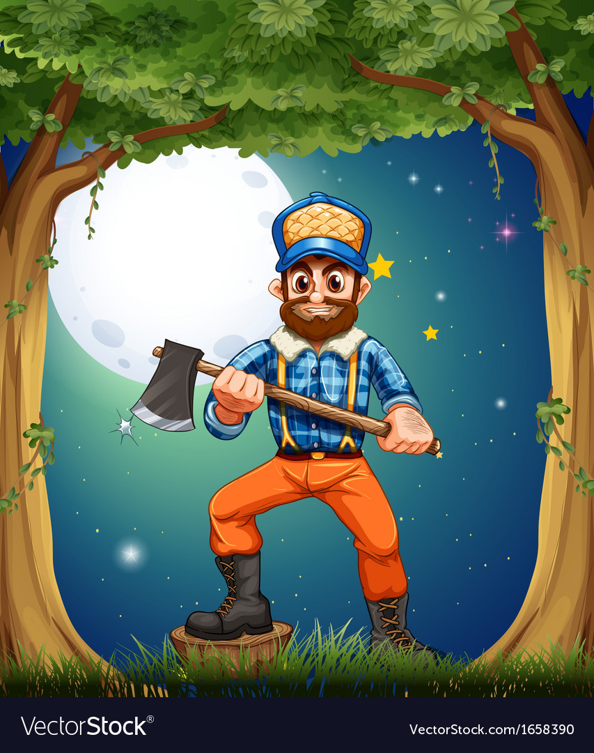 A woodman standing in the middle of the trees vector   Price: 3 Credit (USD $3)