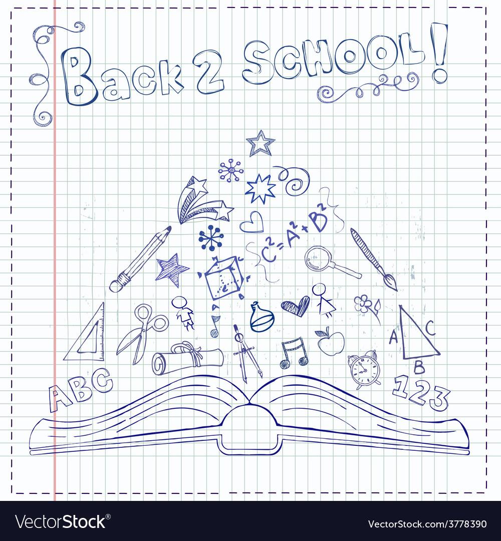 Back to school pen draw vector | Price: 1 Credit (USD $1)