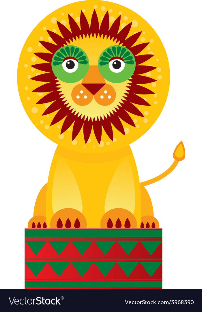 Big lion in the circuson a white background vector   Price: 1 Credit (USD $1)