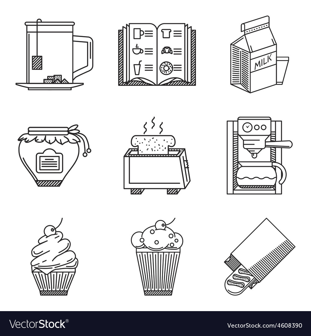 Breakfast black line icons vector | Price: 1 Credit (USD $1)