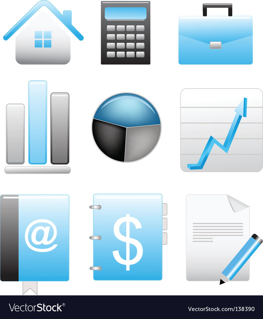 Business blue icons set vector | Price: 1 Credit (USD $1)