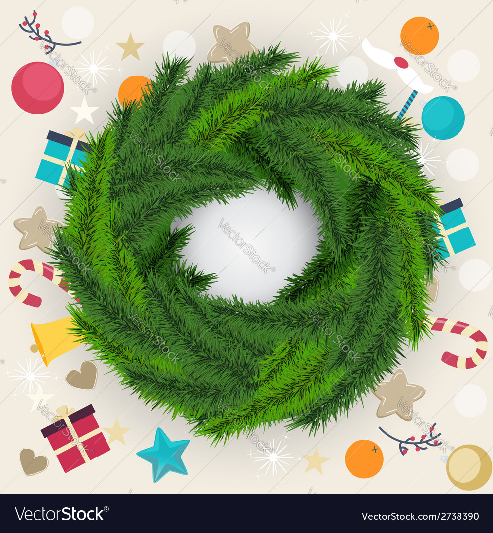 Circular christmas wreath of pine or fir foliage vector | Price: 1 Credit (USD $1)