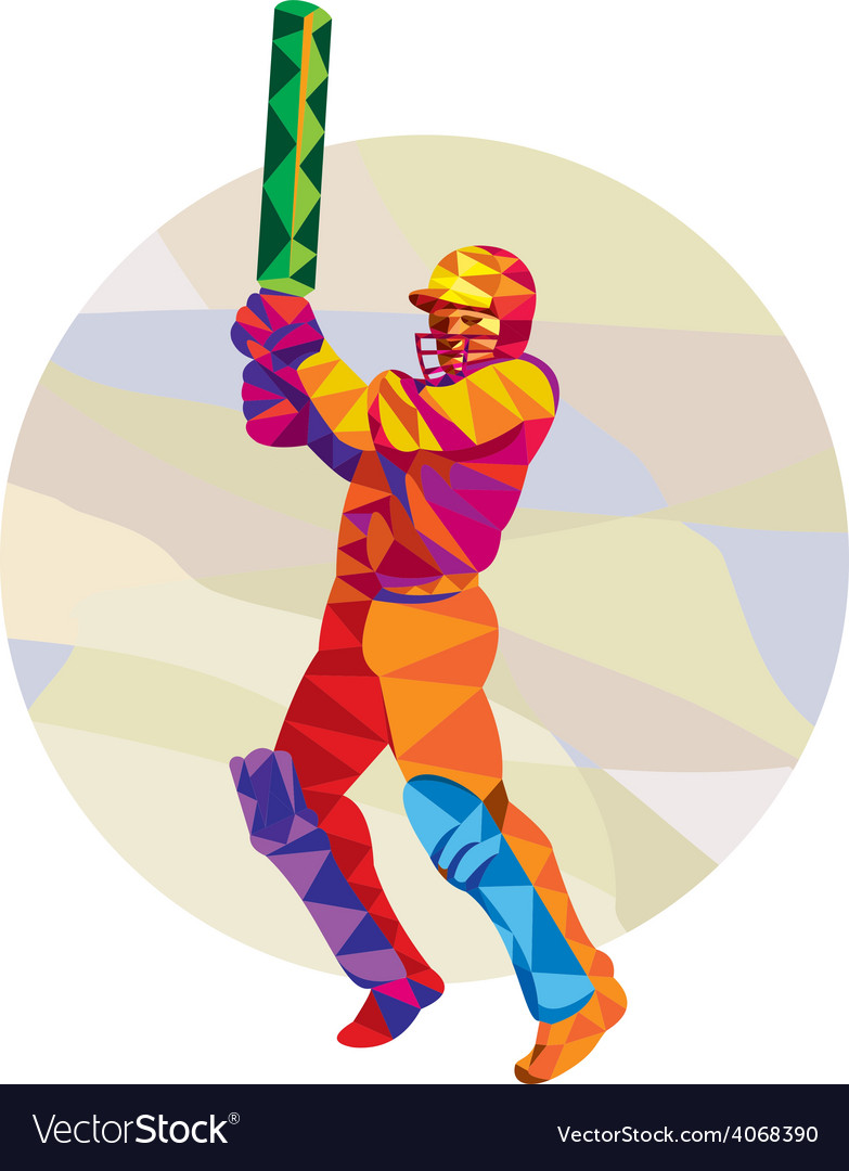 Cricket player batsman batting low polygon vector | Price: 1 Credit (USD $1)