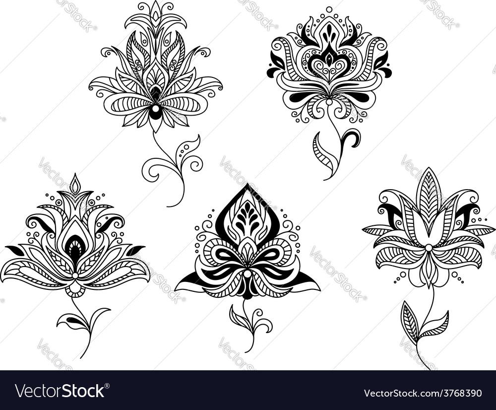 Elegant persian paisley floral elements vector | Price: 1 Credit (USD $1)