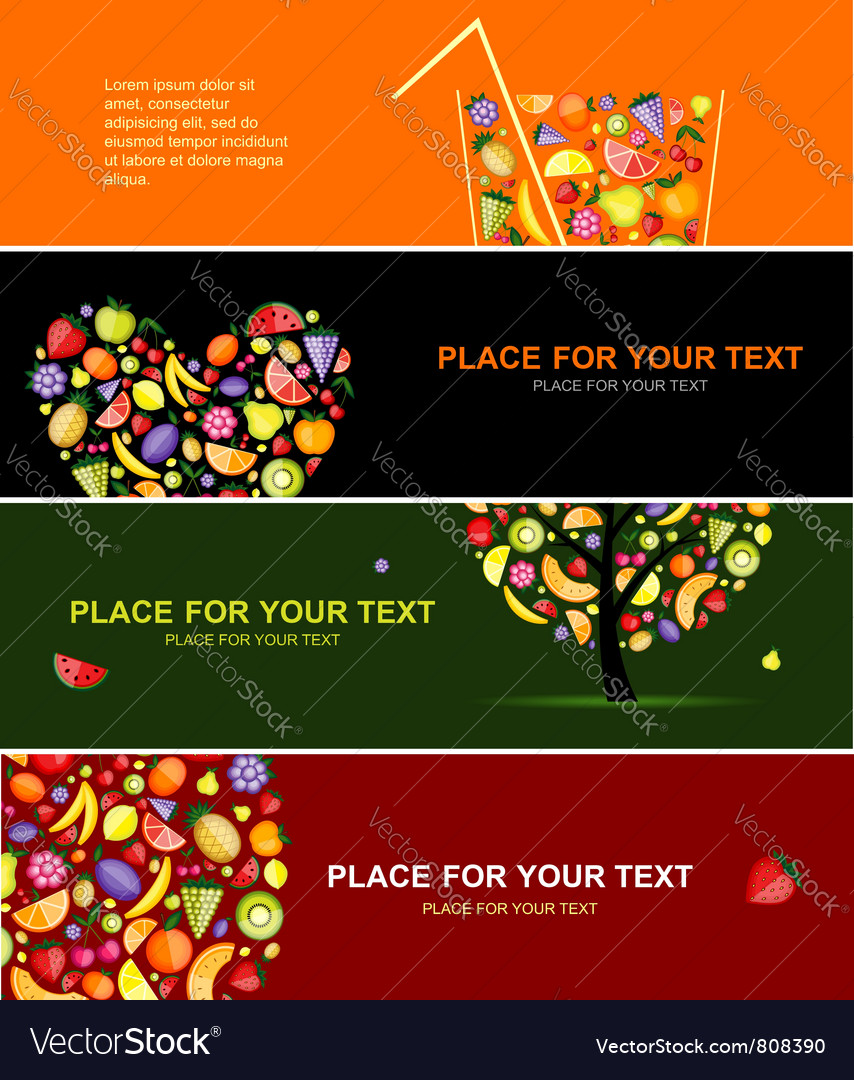 Fruits banners vector | Price: 1 Credit (USD $1)