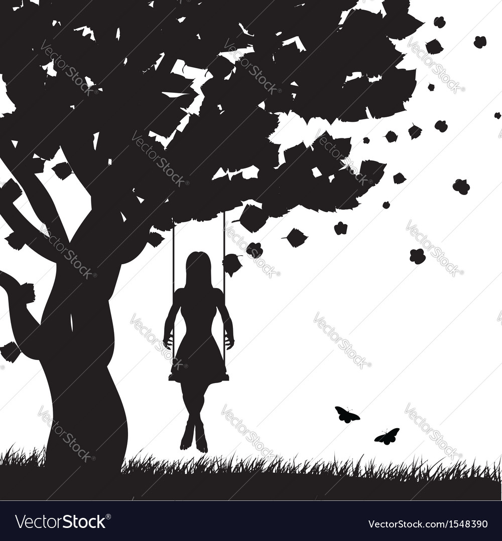 Girl on swing silhouette vector | Price: 1 Credit (USD $1)