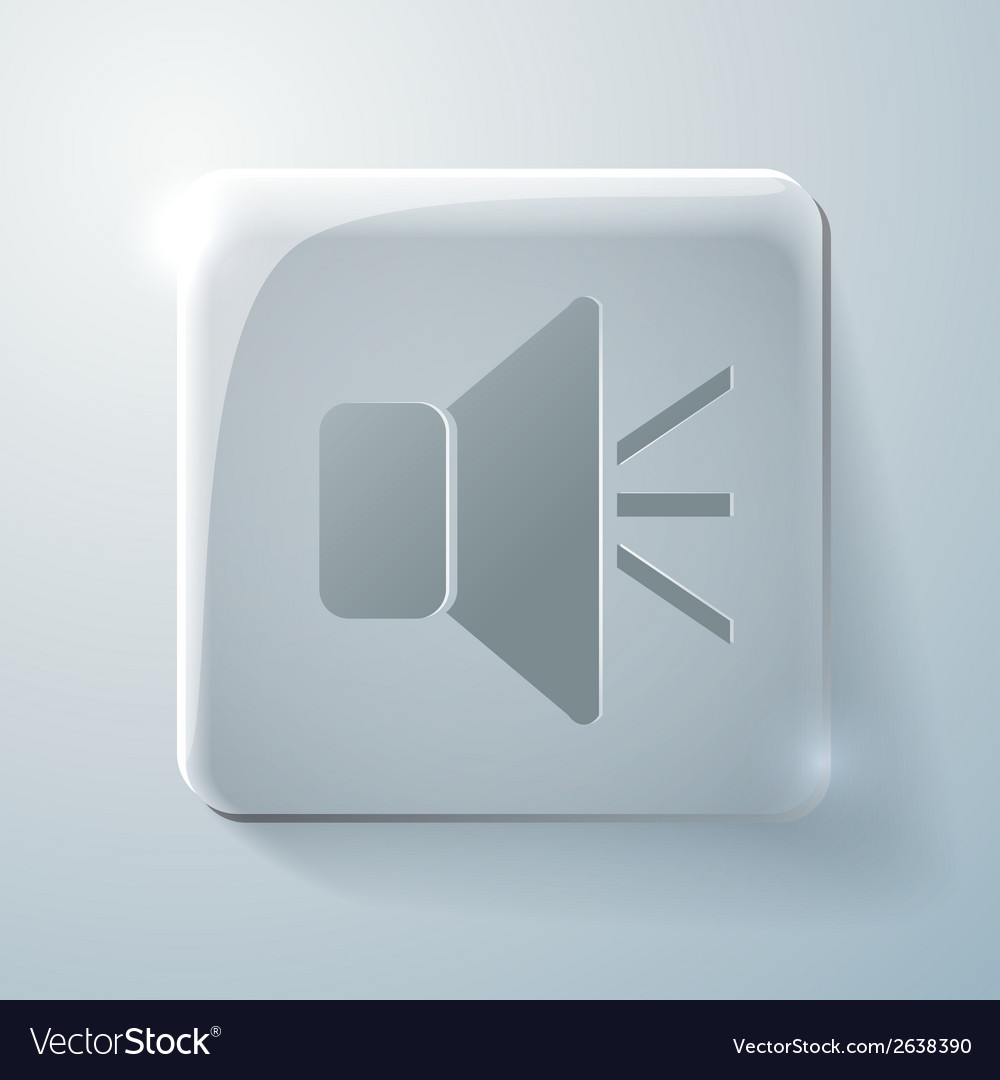 Glass square icon loudspeaker vector | Price: 1 Credit (USD $1)